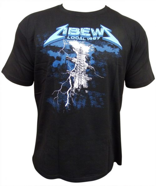 IBEW-T-Shirt-Black-High-Voltage-Graphic-Front